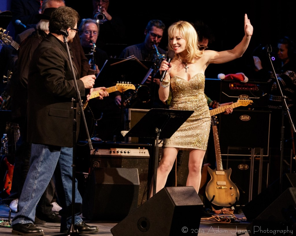 Joni Blondell at All Stars Concert for Wounded Veterans at Paramount Theatre during duet with Bill Edwards (photo: Adam Jason)